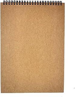 SIYI-XIU Carnet Dessin Spirale A4 Carnet de Croquis Couverture Kraft Bloc Spirale Papier Dessin 60 Pages 160GSM avce Pages...