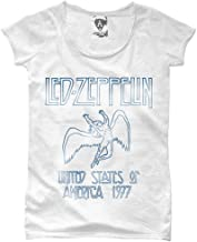 Amplified Led Zeppelin 'Tour 1977' Womens T-Shirt (White) Clothing