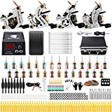 Solong Tattoo Complete Starter Beginner Tattoo Kit 4 Pro Machine Guns 28 Inks Power Supply Foot Pedal Needles Grips Tips TK459