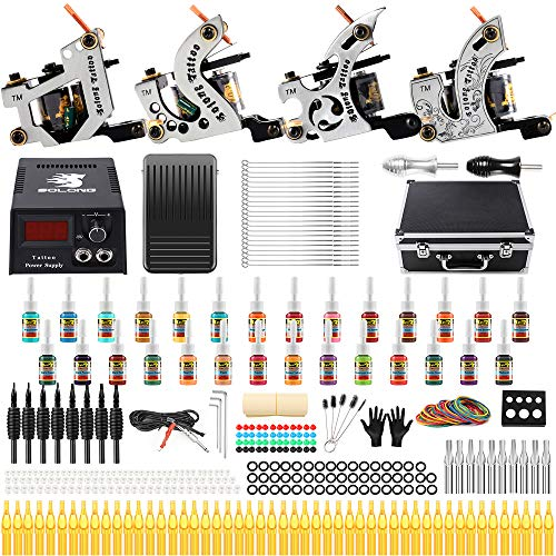 Solong Tattoo Complete Starter Beginner Tattoo Kit 4 Pro Machine Guns 28 Inks Power Supply Foot...