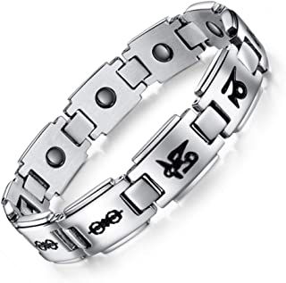 Necklace Necklaces لقلائد قلادة Couple Bracelet Six-Word Mantra Magnetic Health Wristband Titanium Steel Jewelry for Him And Her Gift,1# گردنبند گردنبند