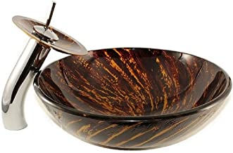 Fire Drawings Glass Sink with Waterfall Faucet; Glass Vessel Sink and Faucet Combo; Bathroom Round Bowl with Matching Glass Faucet; Above The Counter Sink; Brown with Orange Sink
