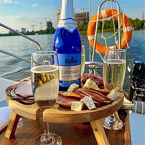 woyada Mesa de picnic plegable de madera potable con soporte de vidrio para exteriores, patio, vida, camping, vacaciones, fiesta