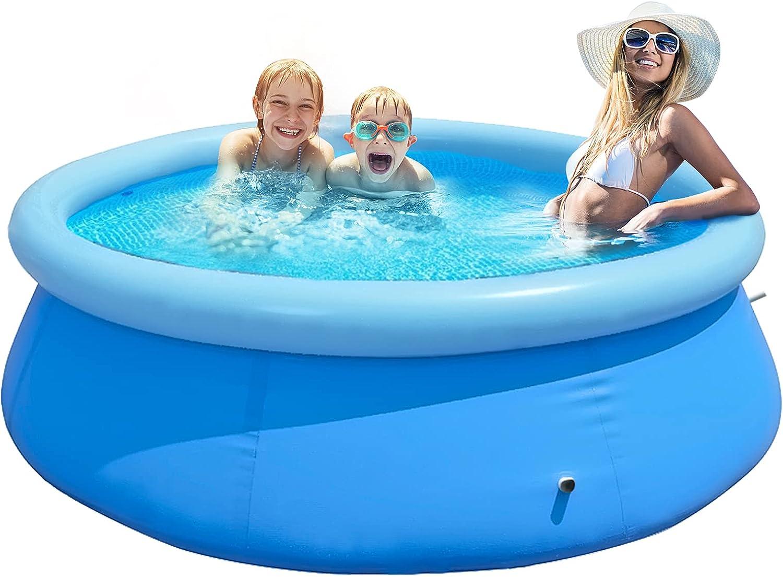 4YANG Piscina Hinchable, Piscina Inflable Redonda 240 * 240 * 63cm Summer Outdoor Game Garden Water Spray Toys Piscina Inflable para niños Puede acomodar de 6 a 8 Personas