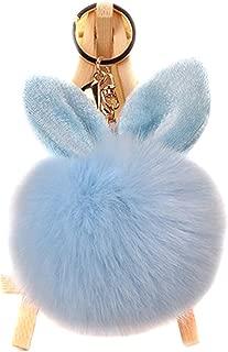 URSFUR Artificial Rabbit Ear Fur Ball - Fluffy Pom Pom Balls with Keychain Hook -Fluffy Pompom Phone Bag Charm Pendant