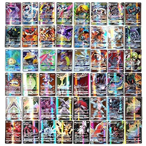 Set di Carte Pokemon da 200Pezzi, Carta Patinata, Carte da Gioco dei Cartoni Animati per Bambini GX Trading Cards Incluso 11Trainer + 189Gx, Regalo Perfetto per Ragazzi e Ragazze