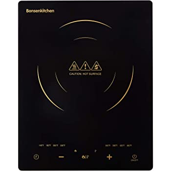Bonsenkitchen 1800W Portable Induction Cooktop w ETL Approved, Electric Single Countertop Burner with LCD Touch Screen Sensor and Digital Timer
