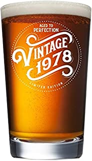 1978 41st Birthday Gifts for Women and Men Beer Glass | Funny Vintage 41 Year Old | Anniversary Gift Ideas for Him, Her, Dad, Mom, Husband, Wife | 16 oz Pint Glasses Party Decorations Supplies Mug Cup