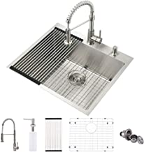 VOKIM 25-inch Drop-in/Topmount 16 Gauge Stainless Steel Kitchen Sink Single Bowl with Strainer & Bottom Grid,Faucet Combo