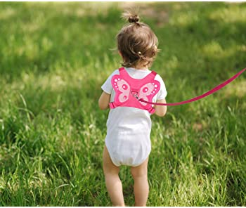 EPLAZA Butterfly-Like Toddler Harnesses with Leashes Anti Lost Wrist Link Wristband for Kids Girls Safety (Pink)