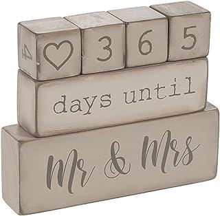 Ganz ER49764 6 Piece Wooden Block Wedding Day Countdown Calendar, Rustic