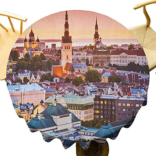 VICWOWONE Mantel de viaje – 55 pulgadas cocina redonda mantel Tallin Estonia Ciudad Vieja con vista aérea Atardecer catedrales atracción turística para amigos Multicolor