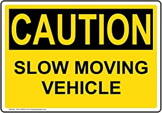Caution Slow Moving Vehicle OSHA Safety Sign, 10x7 in. Magnetic for Machinery by ComplianceSigns