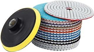 15pcs Diamond Polishing Pads Kit 4 inch 100mm Wet/Dry for Granite Stone Concrete Marble Polishing Use Grinding Discs Set f...