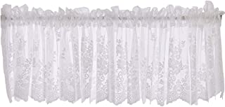 WUBODTI White Sheer Floral Kitchen Window Valance Curtains Lace Embroidered Voile Valances Short Rod Pocket Window Treatments Drapes and Curtains for Bedroom Nursery Living Room, 52x16 Inch
