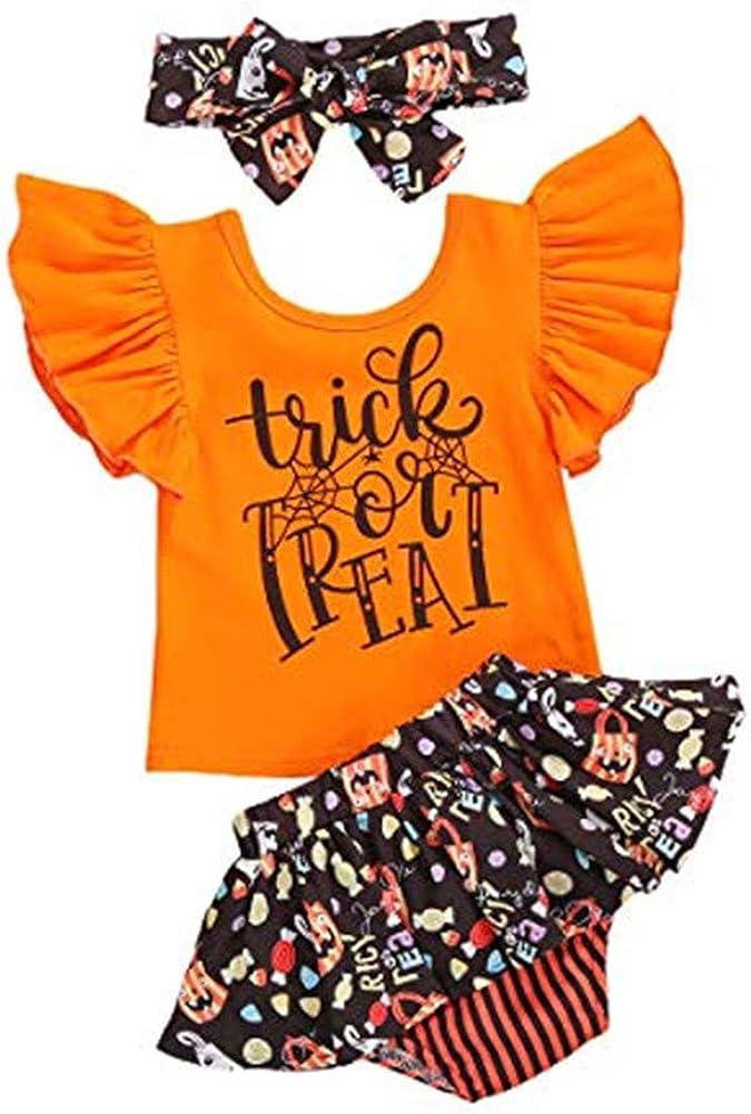 Newborn Toddler Baby Girl Halloween Costumes Kids Ruffle Pumpkin Romper Top+Tutu Skirt Shorts+Headband Outfits