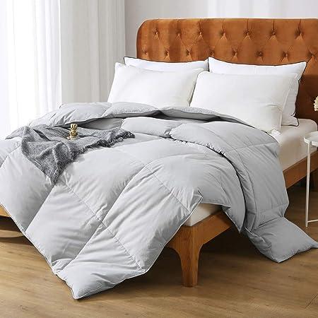 Oaken-Cat Gray Goose Down Feather Comforter Full/Queen - 100% Organic Cotton, Medium Warm All Seasons Machine Washable Duvet Insert with Tabs (90x90, Mirage Grey)