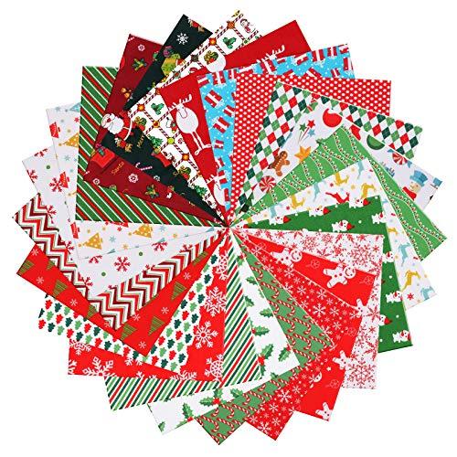 Tacobear 24 Pezzi 25 × 25 cm Tela de Algodón de Navidad Tela de Algodón Patchwork para Costura Manualidades Accesorios Hechos a Mano