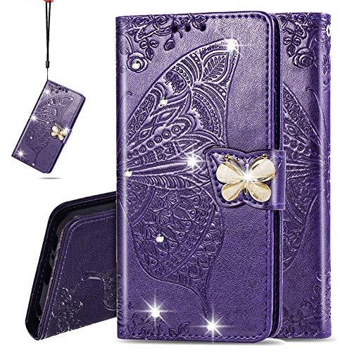IMEIKONST Billetera Case para Moto G9 Plus, Diamante Carcasa de Telefono PU Cuero Card Holder Cartera Magnetic Flip Stand Funda Caso para Motorola Moto G9 Plus Cystal Butterfly Purple SD