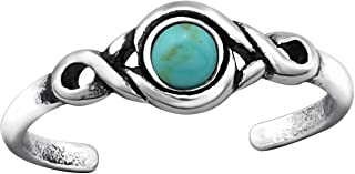 Toe Ring Sterling Silver 925 Imitation Stone Beach Boho (E27898) (Turquoise)