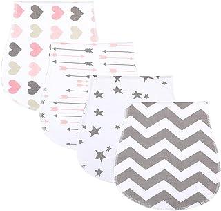 4 Packs Baby Burp Cloths Newborn Set Burping Towels Cotton Washcloths Unisex Curved Absorbent Soft Burpy Clothes