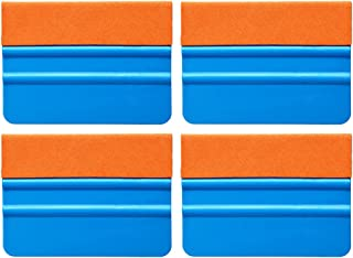 Ehdis® [4PCS] High Quality Felt Edge Squeegee 4 Inch for Car Vinyl Scraper Decal Applicator Tool with Orange Suede Felt Edge - Blue PP Scraper
