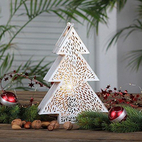 albena shop 74-10 Weihnachtsbeleuchtung Lampe Metall weiss/gold (Tannenbaum 31,5 cm)