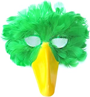 (TM) Green Feather Bird Mask with Yellow Beak