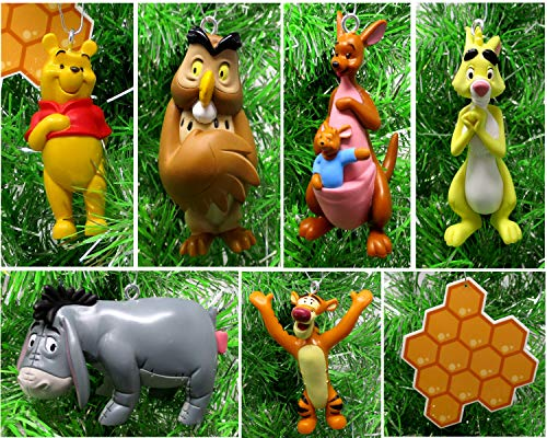 Disney Winnie the Pooh Set of 8 Holiday Christmas Tree Ornaments Featuring 100 Acre Woods Pooh Bear Bumble Bee, Wise Old Owl, Piglet, Kanga, Tigger, Pooh Bear, Eeyore, and Rabbit - Unique Shatterproof Design - Great for Kids