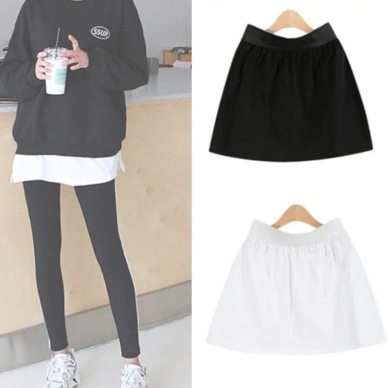 2pcs Adjustable Layering Fake Top Lower Sweep Set Skirt Half-Length Splitting A Version, Women Girls Short High Waist Skirt Black White