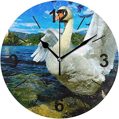 L.Fenn Wandklok, rond, vogel, vleugels, fauna staart, eend, wervelkolom, diameter Silent, decoratief voor thuis, kantoor, keuken, slaapkamer