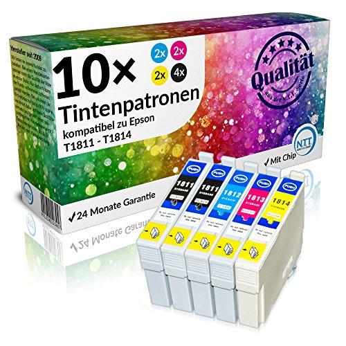 NTT 10 XXL kompatible Druckerpatronen / Tintenpatronen als Ersatz für T1811 T1812 T1813 T1814 18XL Multipack (4 Schwarz , 2 Rot , 2 Blau , 2 Gelb)