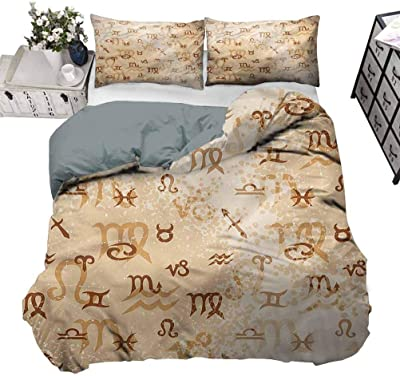 Astrology Quilted Bedspread /& Pillow Shams Set Zodiac Signs Grunge Print
