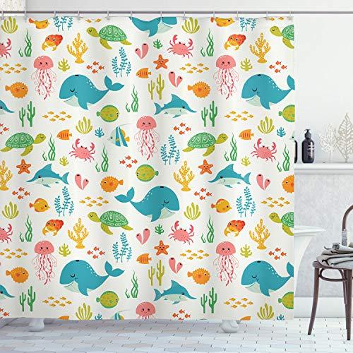 Ambesonne Cartoon Shower Curtain, Underwater Animals Aqua Marine Life with Crabs Sea Stars Fish Illustration, Cloth Fabric Bathroom Decor Set with Hooks, 75