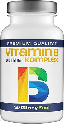 Vitamin B Komplex Hochdosiert - VERGLEICHSSIEGER 2019* - 200 Tabletten - Alle 8 B-Vitamine B1 B2 B3 B5 B6 B7 (Biotin) B9 (Folsäure) B12 - Laborgeprüft ohne unerwünschte Zusätze made in Germany