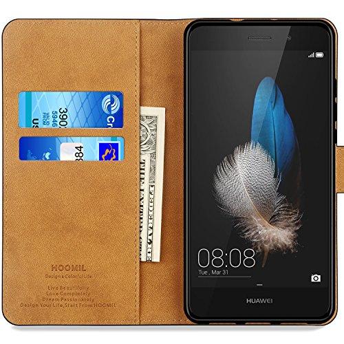 HOOMIL Handyhülle für Huawei P8 Lite Hülle, Premium PU Leder Flip Schutzhülle für Huawei P8 Lite Tasche, Schwarz - 2
