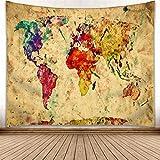 omnihabits Wandteppich, Wandtuch, Tapisserie, Tagesdecke, Wandbehang mit hoch detailliertem Druck (Weltkarte, 130 x 150 cm)