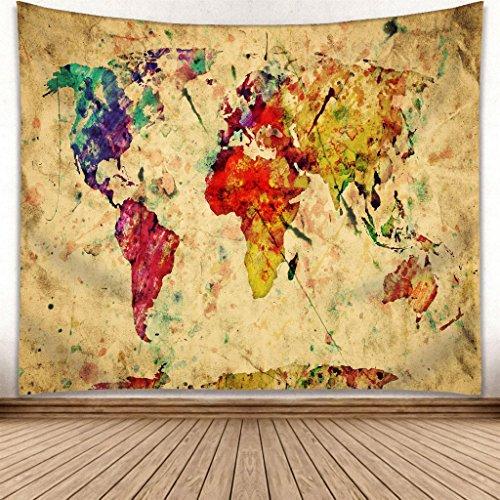 omnihabits Wandteppich, Wandtuch, Tapisserie, Tagesdecke, Wandbehang mit hoch detailliertem Druck (Weltkarte, 180 x 230 cm)