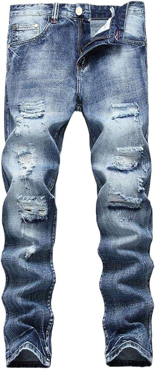 Elegant Susanlife Mens Ripped Straight Leg Slim Cash special price Cotton T Fit Jeans Denim
