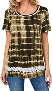 Suncolor8 Womens Plus Size Printed Short-Sleeve Lace Round Neck Top T-Shirt Blouse