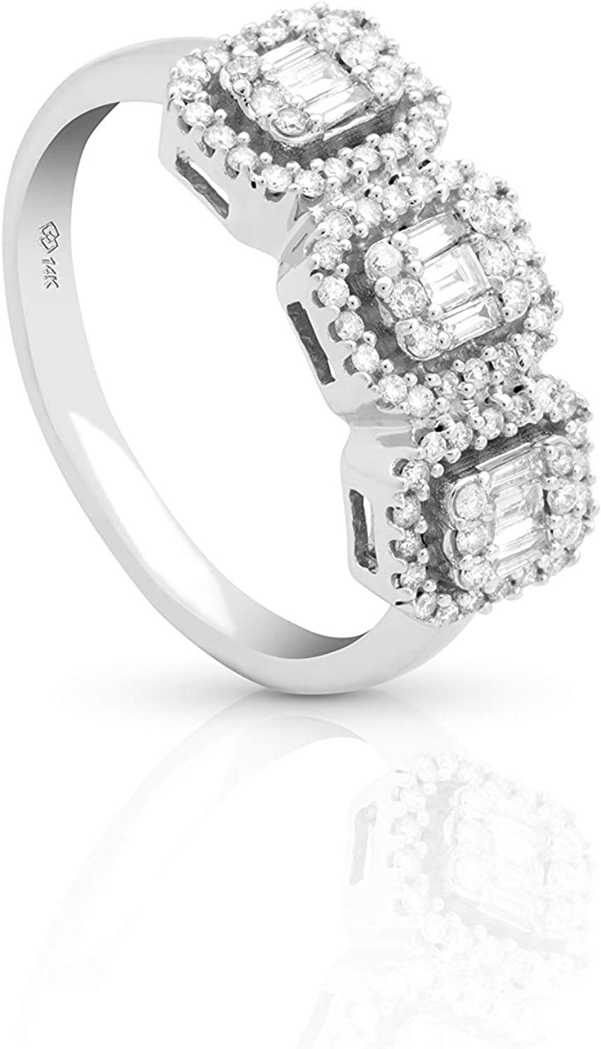 Femme Luxe 0.50 carats ct. and t.w. service Superlatite Baguette Three-Stone Round