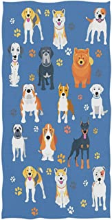 Naanle Cute Dogs and Footprint Pattern Soft Absorbent Large Hand Towels Multipurpose for Bathroom, Hotel, Gym and Spa (16