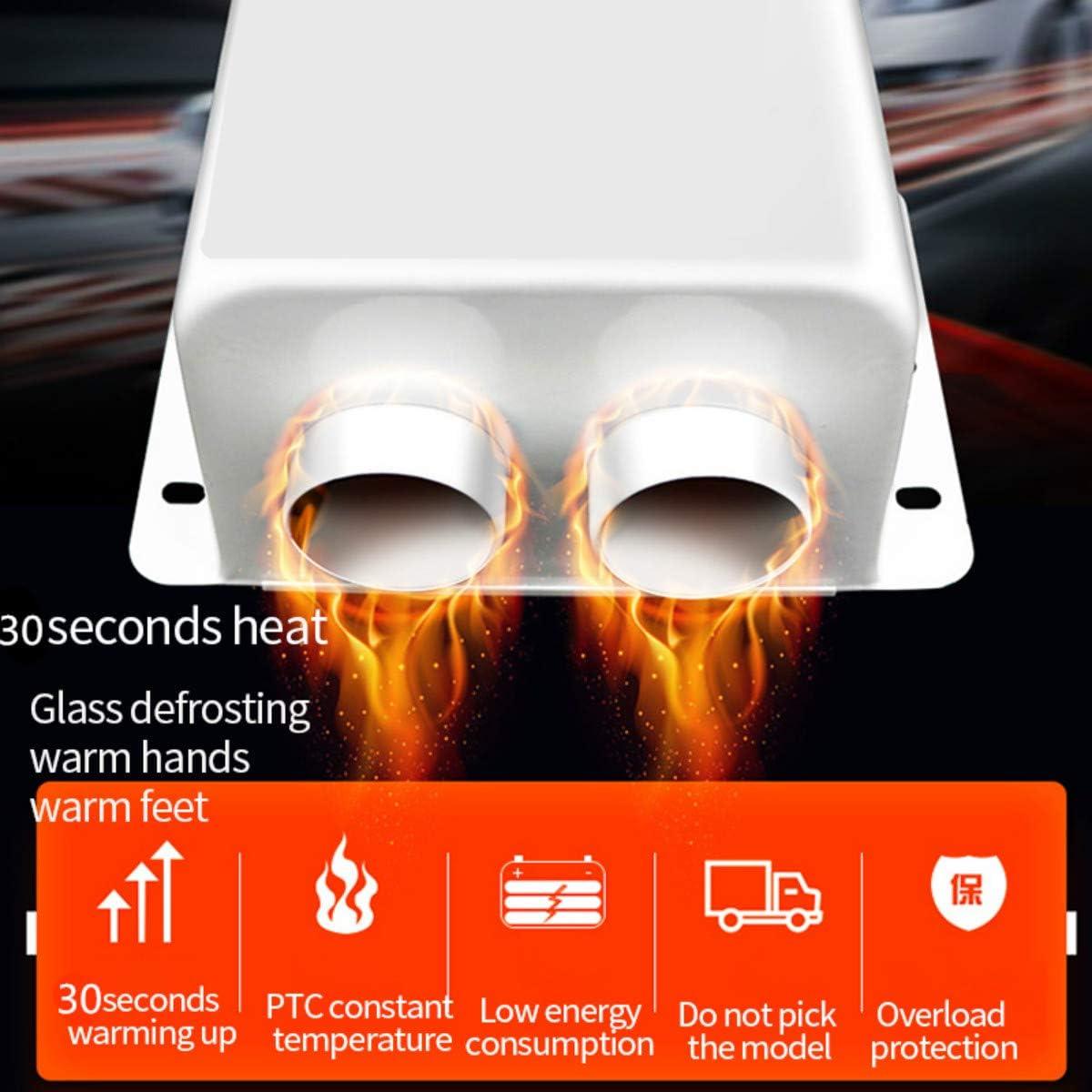 Portable Car Fan Heater 24V Car Heater 600W 2 Holes Heated Fan Heaters Windshield Defroster Demister For Glasses
