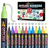 Outline Markers Self-Outline Metallic Markers - 12 Colors Double Line Pen Out Line Paint Permanent Marker Pens for Writing Greeting Cards, Drawing, DIY Art Craft Projects - 3mm Medium Tip