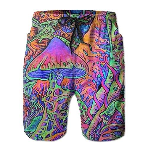 xiangwangdeli Beachs Mushroom Plants Colorful Mens Boardshorts Swim Trunks Men Swim Board Shorts Surf Trunks XX-Large