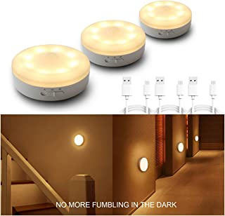 Rechargeable Motion Sensor Light 1000mAH LED Puck Lights, Stick Anywhere Light, Cordless Closet Light, Automatic Under Cabinet Lighting for Counter,Pantry,Wardrobe,Hallway,Stairs,Warm White 3 Pack