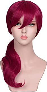 ColorGround Long Wavy Anime Cosplay Pigtail Wig for Halloween Parties and Cons (Magenta)
