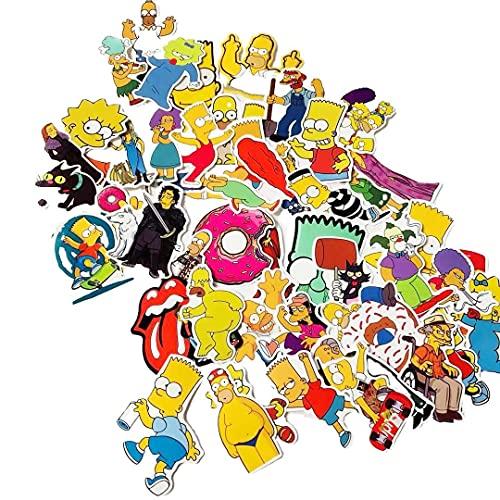 ZNMSB 50 Spoof Yellow Simpson Cartoon Funda para teléfono móvil Maleta Pegatinas Casco Coche Suministros creativos Pegatinas