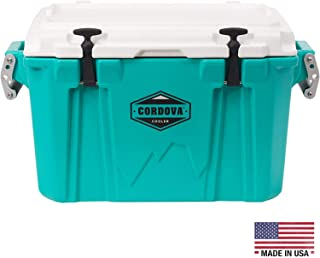 CORDOVA 35 Small Cooler - Hard Sided Rotomolded Ice Chest with 28 Quart Capacity & Built In Bottle Opener - Made in the USA