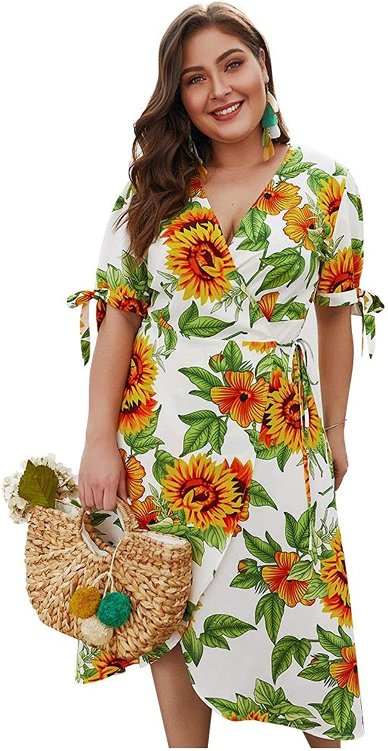 CARRY Dress, European and American Summer Big Swing Cocktail Comfortable Soft Women's VNeck Print ShortSleeved Large Size Dress (Size   2XL)